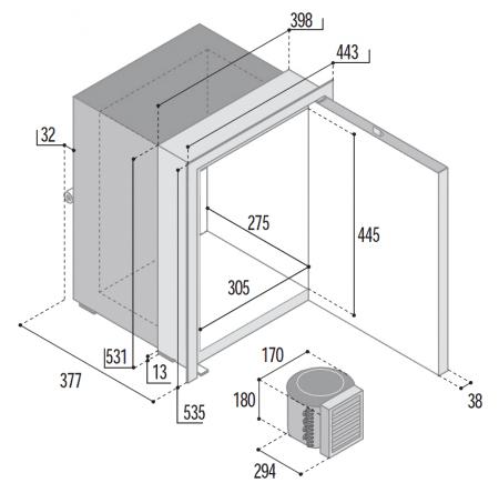 Vitrifrigo C42LX dimensions