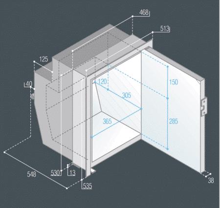 Vitrifrigo C62iX dimensions